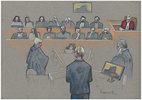 Montreal - CANADA - File images -  An artist's sketch shows Luka Rocco Magnotta's  trial for the murder of Jin Li, October 16, 2014.<br /> <br />  It is one of the most grisly and sensational murder trials in Canadian history<br /> <br /> Image :  Agence Quebec Presse  - Atalante