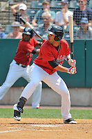 Eddie Rosario (13) of the New Britain Rock Cats bats during a game against the Altoona Curve at New Britain Stadium on July 23, 2014 in New Britain, Connecticut.  Altoona defeated New Britain 8-5. (Gregory Vasil/Four Seam Images)