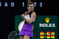 8th February 2021; Melbourne, Victoria, Australia;  Simona Halep of Romania celebrates after winning a match during round 1 of the 2021 Australian Open on February 8 2020, at Melbourne Park in Melbourne, Australia.