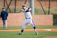 High Point Panthers relief pitcher Austin Heinz (28) makes a throw to first base against the NJIT Highlanders during game one of a double-header at Williard Stadium on February 18, 2017 in High Point, North Carolina.  The Panthers defeated the Highlanders 11-0.  (Brian Westerholt/Four Seam Images)