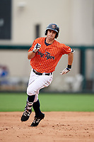 Lakeland Flying Tigers third baseman Zac Shepherd (4) running the bases during the second game of a doubleheader against the St. Lucie Mets on June 10, 2017 at Joker Marchant Stadium in Lakeland, Florida.  Lakeland defeated St. Lucie 9-1.  (Mike Janes/Four Seam Images)