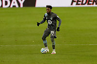 ST PAUL, MN - OCTOBER 28: Romain Metanire #19 of Minnesota United FC passes the ball during a game between Colorado Rapids and Minnesota United FC at Allianz Field on October 28, 2020 in St Paul, Minnesota.