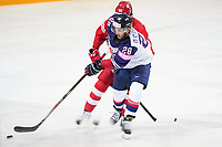 22nd May 2021, Riga Olympic Sports Centre Latvia; 2021 IIHF Ice hockey, Eishockey World Championship, Great Britain versus Russia;  Ben Oconnor Great Britain protects the puck against Dmitri Voronkov Russia