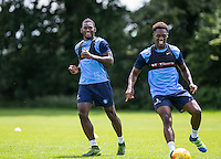 Aaron Pierre & Anthony Stewart during the Wycombe Wanderers 2016/17 Pre Season Training Session at Wycombe Training Ground, High Wycombe, England on 1 July 2016. Photo by Andy Rowland / PRiME Media Images.