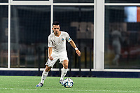 FOXBOROUGH, MA - SEPTEMBER 1: Danny Bedoya #8 of FC Tucson brings the ball forward during a game between FC Tucson and New England Revolution II at Gillette Stadium on September 1, 2021 in Foxborough, Massachusetts.