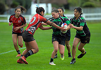 Action from the 2020 Hurricanes Under-15 Girls tournament match between Wainuiomata High School and Manukura at Playford Park in Levin, New Zealand on Tuesday, 1 September 2020. Photo: Dave Lintott / lintottphoto.co.nz