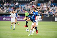 TACOMA, WA - JULY 31: Lauren Barnes #3 of the OL Reign traps the ball during a game between Racing Louisville FC and OL Reign at Cheney Stadium on July 31, 2021 in Tacoma, Washington.
