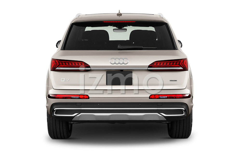 Straight rear view of 2020 Audi Q7 Premium 5 Door SUV Rear View  stock images