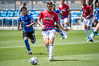 SAN JOSE, CA - APRIL 24: Jose Martinez #3 of FC Dallas passes the ball during a game between FC Dallas and San Jose Earthquakes at PayPal Park on April 24, 2021 in San Jose, California.