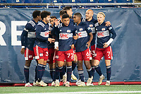 FOXBOROUGH, MA - OCTOBER 16: Damian Rivera celebrates his goal with his team mates during a game between North Texas SC and New England Revolution II at Gillette Stadium on October 16, 2020 in Foxborough, Massachusetts.