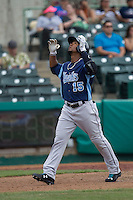 Corpus Christi Hooks outfielder Teoscar Hernandez (15) crosses home plate after clubbing his first home run in the Texas League baseball game against the San Antonio Missions on May 10, 2015 at Nelson Wolff Stadium in San Antonio, Texas. The Missions defeated the Hooks 6-5. (Andrew Woolley/Four Seam Images)