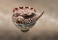 """Minoan Kamares Ware beak spouted """"teapot"""" with herb strainer and  polychrome decorations, Phaistos 1800-1650 BC; Heraklion Archaeological  Museum.<br /> <br /> This style of pottery is named afetr Kamares cave where this style of pottery was first found"""
