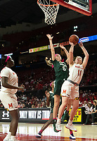 COLLEGE PARK, MD - FEBRUARY 03: Claire Hendrickson #5 of Michigan State blocks  shot by Taylor Mikesell #11 of Maryland during a game between Michigan State and Maryland at Xfinity Center on February 03, 2020 in College Park, Maryland.