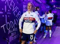 ORLANDO, FL - JANUARY 22: Megan Rapinoe #15 of the USWNT stands in the tunnel before a game between Colombia and USWNT at Exploria stadium on January 22, 2021 in Orlando, Florida.