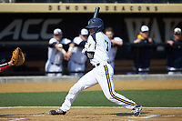 Brian Moskey (7) of the Quinnipiac Bobcats avoids being hit by an inside pitch during the game against the Radford Highlanders at David F. Couch Ballpark on March 4, 2017 in Winston-Salem, North Carolina. The Highlanders defeated the Bobcats 4-0. (Brian Westerholt/Four Seam Images)