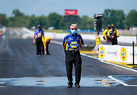 Aug 9, 2020; Clermont, Indiana, USA; NHRA funny car crew chief Rahn Tobler during the Indy Nationals at Lucas Oil Raceway. Mandatory Credit: Mark J. Rebilas-USA TODAY Sports