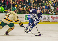 4 January 2014:  Yale University Bulldogs forward Stu Wilson, a Sophomore from Pittsford, NY, in first period action against the University of Vermont Catamounts at Gutterson Fieldhouse in Burlington, Vermont. With an empty net and seconds remaining, the Cats came back to tie the game 3-3 against the 10th seeded Bulldogs. Mandatory Credit: Ed Wolfstein Photo *** RAW (NEF) Image File Available ***