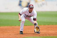 Third baseman Anthony Melchionda #11 of the Boston College Eagles on defense against the Miami Hurricanes at the 2010 ACC Baseball Tournament at NewBridge Bank Park May 27, 2010, in Greensboro, North Carolina.  The Eagles defeated the Hurricanes 12-10 in 10 innings.  Photo by Brian Westerholt / Four Seam Images