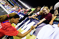 PHILADELPHIA, PA - AUGUST 29: Jessica McDonald #22 of the United States signs autographs for fans during a game between Portugal and USWNT at Lincoln Financial Field on August 29, 2019 in Philadelphia, PA.
