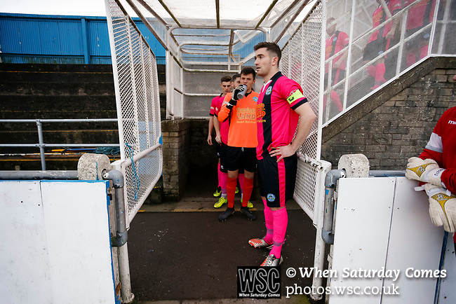 Pickering Captain Nick Thompson and his team wait for the Stocksbridge players in the caged off players tunnel. Stocksbridge Park Steels v Pickering Town, Evo-Stik East Division, 17th November 2018. Stocksbridge Park Steels were born from the works team of the local British Steel plant that dominates the town north of Sheffield.<br /> Having missed out on promotion via the play offs in the previous season, Stocksbridge were hovering above the relegation zone in Northern Premier League Division One East, as they lost 0-2 to Pickering Town. Stocksbridge finished the season in 13th place.