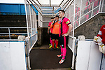 Pickering Captain Nick Thompson and his team wait for the Stocksbridge players in the caged off players tunnel. Stocksbridge Park Steels v Pickering Town, Evo-Stik East Division, 17th November 2018. Stocksbridge Park Steels were born from the works team of the local British Steel plant that dominates the town north of Sheffield.<br />
