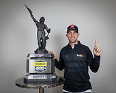 #11: Denny Hamlin, Joe Gibbs Racing, Toyota Camry FedEx Express with the winner's trophy