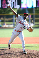 Ismel Lopez (26) of the Spokane Indians pitches against the Hillsboro Hops at Ron Tonkin Field on July 23, 2017 in Hillsboro, Oregon. Spokane defeated Hillsboro, 5-3. (Larry Goren/Four Seam Images)