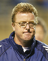 New England Revolution head coach Steve Nicol reacts after his team's 2-2 tie to the San Jose Earthquakes in an MLS match on April 2, 2005 at Spartan Stadium in San Jose, California.