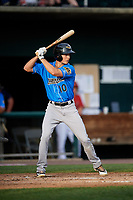 Akron RubberDucks designated hitter Tyler Krieger (10) at bat during a game against the Harrisburg Senators on August 18, 2018 at FNB Field in Harrisburg, Pennsylvania.  Akron defeated Harrisburg 5-1.  (Mike Janes/Four Seam Images)