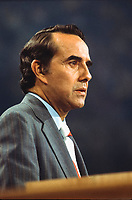 United States Senator Bob Dole (Republican of Kansas), delivers his acceptance speech as the 1976 Republican nominee for Vice President of the United States, at the Republican National Convention at the Kemper Arena in Kansas City, Missouri on August 19, 1976.<br />