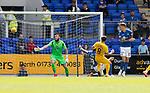 St Johnstone v Livingston….10.08.19      McDiarmid Park     SPFL <br />Scott Pittman scores his goal<br />Picture by Graeme Hart. <br />Copyright Perthshire Picture Agency<br />Tel: 01738 623350  Mobile: 07990 594431
