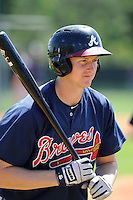 Outfielder David Rohm (65) of the Atlanta Braves farm system in a Minor League Spring Training workout on Monday, March 16, 2015, at the ESPN Wide World of Sports Complex in Lake Buena Vista, Florida. (Tom Priddy/Four Seam Images)