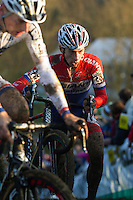 29 NOV 2014 - MILTON KEYNES, GBR - Lars Van Der Haar (NED) from the Netherlands and Development Team Giant-Shimano pushes his bike to the top of a climb during the men's 2014-2015 UCI Cyclo-Cross World Cup round at Campbell Park in Milton Keynes, Great Britain (PHOTO COPYRIGHT © 2014 NIGEL FARROW, ALL RIGHTS RESERVED)