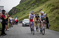 World Champion Julian Alaphilippe (FRA/Deceuninck - QuickStep), Pierre Latour (FRA/TotalEnergies) & Belgian National Champion Wout van Aert (BEL/Jumbo-Visma) in the final kilometers up the final climb of the day; the Col du Portet (HC/2215m)<br /> <br /> Stage 17 from Muret to Saint-Lary-Soulan (Col du Portet)(178km)<br /> 108th Tour de France 2021 (2.UWT)<br /> <br /> ©kramon