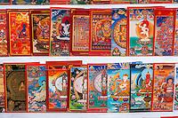 Bodhnath, Nepal.  Thangka Paintings, a Traditional Tibetan Buddhist Style of Painting.
