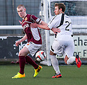 Stenny's Josh Watt and East Fife's Scott Durie challenge for the ball. <br /> <br /> <br /> 15/02/2014   jspa020_smuir_v_efife     <br /> Copyright  Pic : James Stewart   <br /> <br /> James Stewart Photography 19 Carronlea Drive, Falkirk. FK2 8DN      Vat Reg No. 607 6932 25   Tel:  +44 (0)7721 416997<br /> E-mail  :  jim@jspa.co.uk   If you require further information then contact Jim Stewart on any of the numbers above........