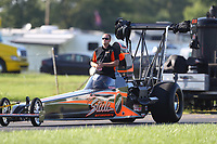 Aug 8, 2020; Clermont, Indiana, USA; NHRA top alcohol dragster driver Mick Steele during the Indy Nationals at Lucas Oil Raceway. Mandatory Credit: Mark J. Rebilas-USA TODAY Sports