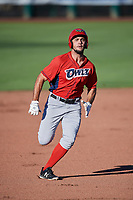 Nonie Williams (27) of the Orem Owlz in action against the Ogden Raptors at Lindquist Field on June 19, 2018 in Ogden, Utah. The Raptors defeated the Owlz 7-2. (Stephen Smith/Four Seam Images)