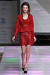 Model walks runway in an outfit from the Cuero Design Fall 2017 collection by Paulina Cañas, at Crowne Plaza Times Square Manhattan, on February 10, 2017, during Couture Fashion Week Fall 2017.