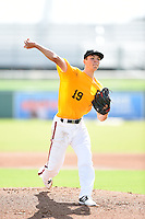 Pitcher Riley Pint (19) of St. Thomas Aquinas High School in Lenexa, Kansas during the Perfect Game National Showcase on June 18, 2015 at jetBlue Park at Fenway South in Fort Myers, Florida.  (Mike Janes/Four Seam Images)  ***PHOTO RESTRICTIONS - trading cards out***