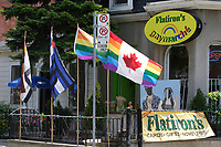 Flatiron store, near Church Street in The   Village ;  a predominantly gay neighbourhood in the heart of downtown Toronto.........Home to Canada's largest gay community, Toronto welcomes gay and lesbian visitors with a full slate of entertaining things to see and do year-round. While Toronto is home to more than 4 million people, the gay and lesbian village is nestled in the downtown core, centered around the intersection of Church and Wellesley Streets. The area is packed with cafÈs, restaurants, gay-oriented shops and a vast array of bars and hot nightspots.....Photo : Pierre Roussel - Images Distribution