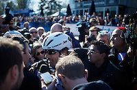 Fabian Cancellara (SUI/Trek-Segafredo) is mobbed by the press as  soon as he crosses the finish line as this was his very last Roubaix.<br /> <br /> 114th Paris-Roubaix 2016
