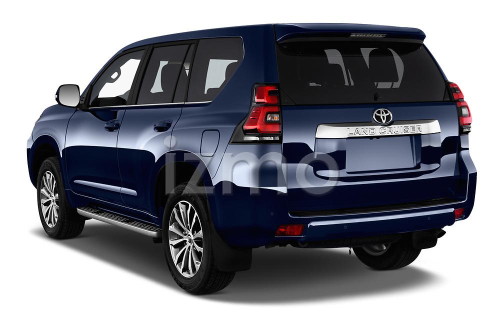 Car pictures of rear three quarter view of a 2018 Toyota Landcruiser Premium 5 Door SUV angular rear