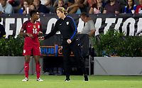 Carson, CA - Thursday August 03, 2017: Taylor Smith, Jill Ellis during a 2017 Tournament of Nations match between the women's national teams of the United States (USA) and Japan (JAP) at StubHub Center.