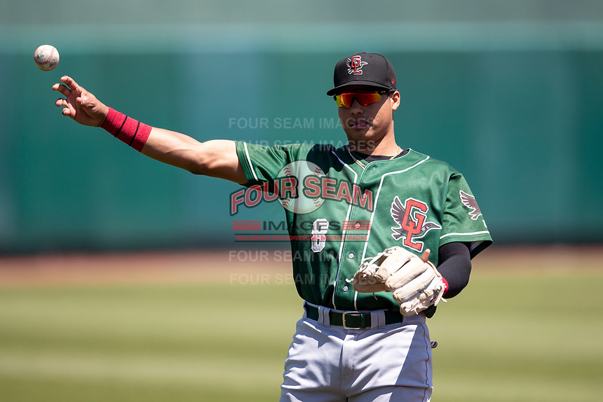 Great Lakes Loons shortstop Leonel Valera (8) warms up prior to the game on May 30, 2021 against the Lansing Lugnuts at Jackson Field in Lansing, Michigan. (Andrew Woolley/Four Seam Images)