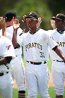 GCL Pirates first baseman Mikell Granberry (31) high fives teammates after a game against the GCL Yankees East on August 15, 2016 at the Pirate City in Bradenton, Florida.  GCL Pirates defeated GCL Yankees East 5-2.  (Mike Janes/Four Seam Images)