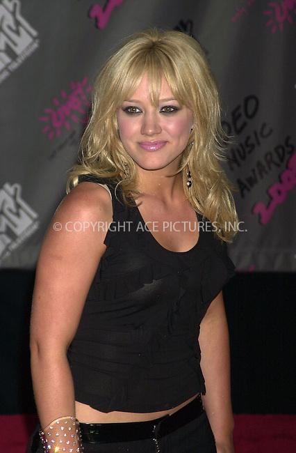 Hilary Duff at 2003 Video Music Awards. New York, August 28, 2003. Please byline: NY Photo Press.   ..*PAY-PER-USE*      ....NY Photo Press:  ..phone (646) 267-6913;   ..e-mail: info@nyphotopress.com
