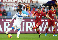 Football, Serie A: AS Roma - Brescia FC, Olympic stadium, Rome, November 24, 2019. <br /> Brescia's Emanuele Ndoj (l) in action with Roma's Jordan Veretout (r) during the Italian Serie A football match between Roma and Brescia at Olympic stadium in Rome, on November 24, 2019. <br /> UPDATE IMAGES PRESS/Isabella Bonotto