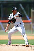GCL Marlins relief pitcher Victor Delgado (52) during a game against the GCL Mets on August 12, 2016 at St. Lucie Sports Complex in St. Lucie, Florida.  GCL Marlins defeated GCL Mets 8-1.  (Mike Janes/Four Seam Images)