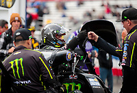 Feb 9, 2020; Pomona, CA, USA; NHRA top fuel driver Brittany Force with crew members during the Winternationals at Auto Club Raceway at Pomona. Mandatory Credit: Mark J. Rebilas-USA TODAY Sports